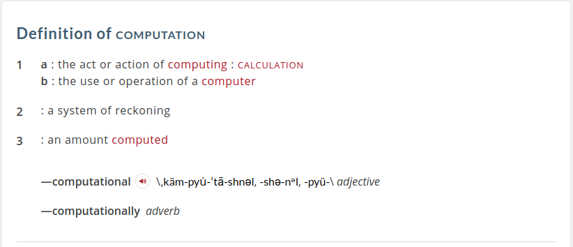 Merriam Webster dictionary definition for computation